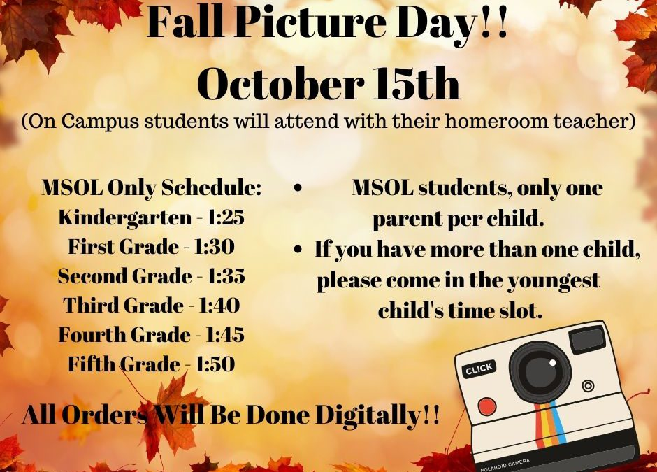 Fall Picture Day is October 15th!!
