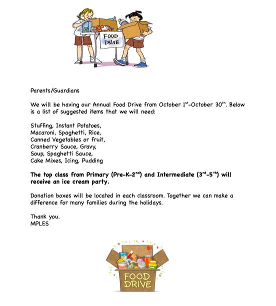 Food Drive October 1st thru 30th!!